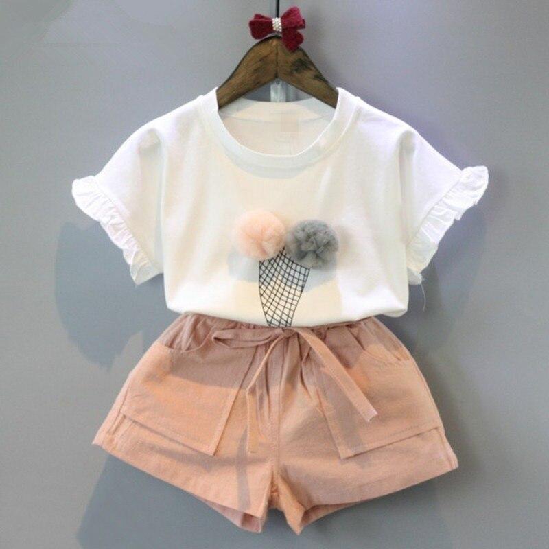 2pcs conjunto de roupas de bebê da menina traje do bebê camisas shorts conjunto de roupas de bebê da menina|Conjuntos de roupas|   -