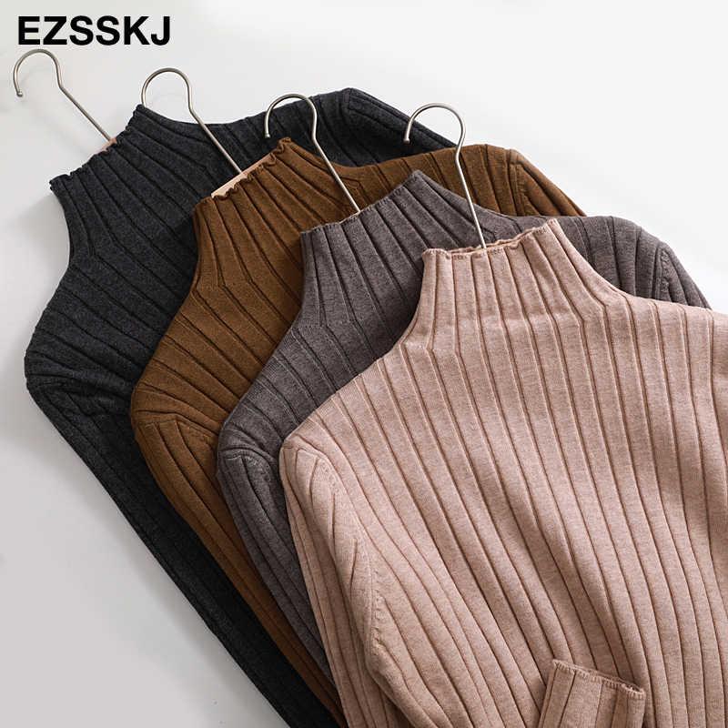 세련된 가을 겨울 느슨한 두꺼운 스웨터 Pullovers 여성 긴 소매 캐주얼 터틀넥 따뜻한 기본 스웨터 니트 점퍼 가기