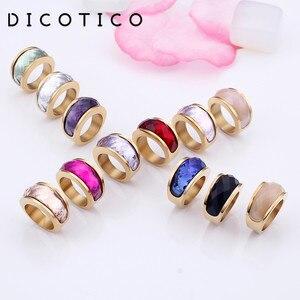 Dicotico новые богемные болгарийские золотые кольца из нержавеющей стали для женщин, размер 6-9, цветные каменные кольца для девушек, женские веч...