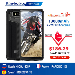 Image 1 - Blackview BV9100 IP68 su geçirmez cep telefonu 13000mAH 30W hızlı şarj 4G cep telefonu MTK6765 4GB + 64GB 16.0MP güçlendirilmiş akıllı telefon