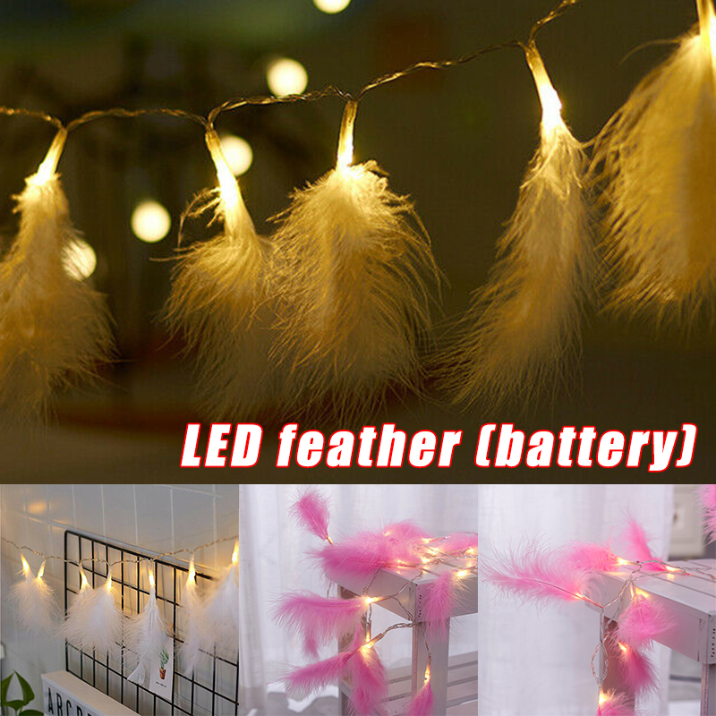 2019 New LED Fluffy Feather Fairy Stringlight DIY Decoration For Home Wedding Christmas Party  L5 #4