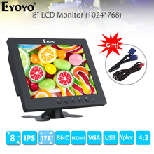 EYOYO EM08C 8 inch IPS LCD Monitor 1024X768 VGA BNC HDMI Screen with Built-in speakers for PC DVR CCTV Security Survillance