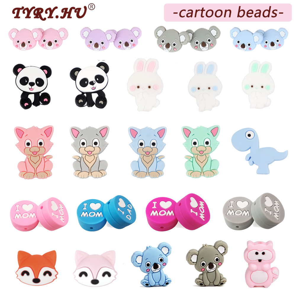 TYRY.HU 5PC Cartoon Silicone Beads BPA Free Cat Pearl Beads Teething Toys Baby DIY Animal Koala Rodent Silicone Baby Teether(China)