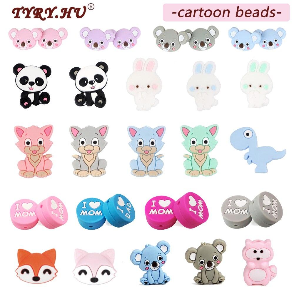 TYRY.HU 5PC Cartoon Silicone Beads BPA Free Cat Pearl Beads Teething Toys Baby DIY Animal Koala Rodent Silicone Baby Teether(China)