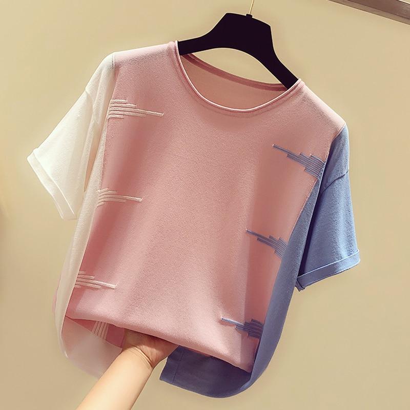 Shintimes Pink O-Neck T Shirts Women 2020 Summer Thin Knitted T-Shirt Women Casual Woman T-Shirts Hit Color Tops Tee Shirt Femme