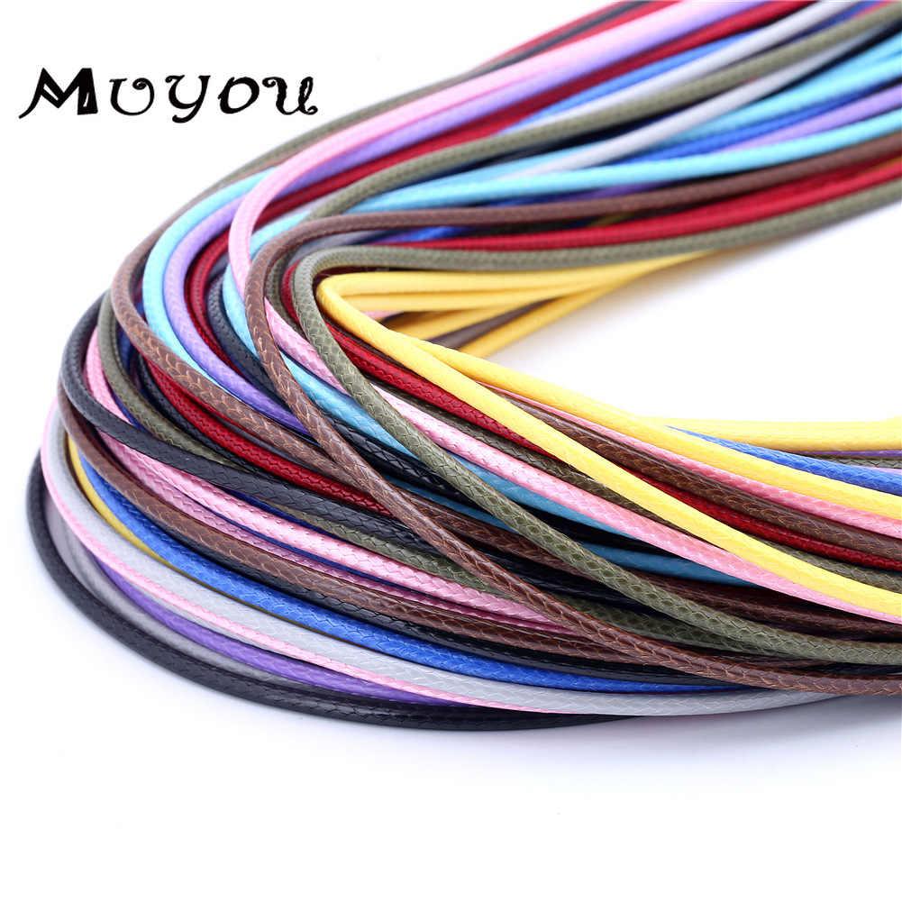 Cabo trançado de couro genuíno ajustável, 20 pçs/lote 1.5mm, corda para colar diy, produção de jóias, achados