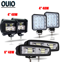 4 6 48W LED Light Bar Offroad Spot Led Work Truck Tractor SUV 4x4 12V 24V Boat ATV Excavator Heading Car Lights