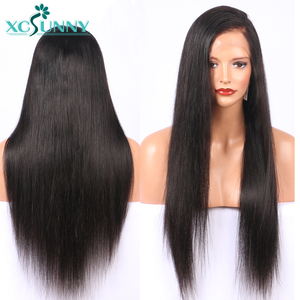 Image 4 - 13X4 dantel ön İnsan saç peruk ipeksi düz brezilyalı Remy Frontal peruk ön koparıp bebek saç kadınlar için xcsunny