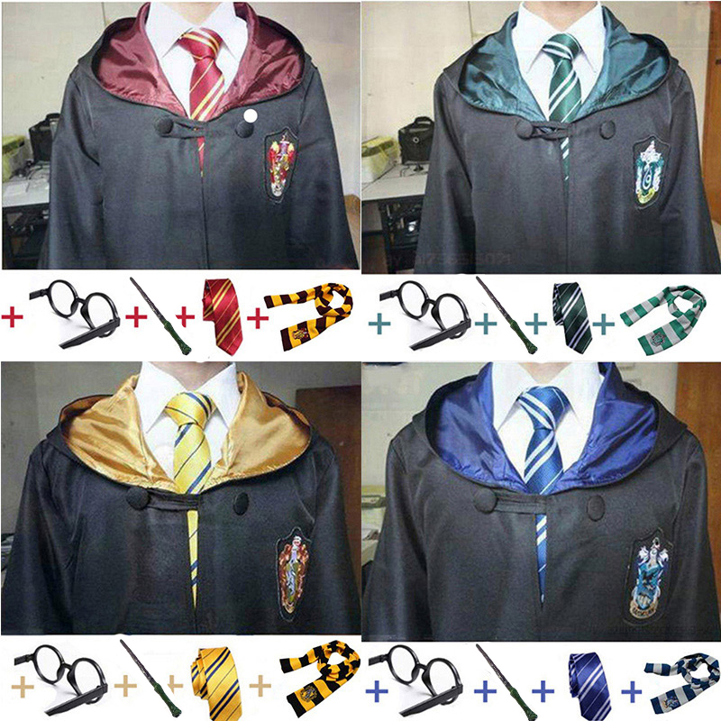 Potter Costume Clothes Potter Cosplay Robe Cloak With Tie Scarf Wand Glasses Ravenclaw Gryffindor Hufflepuff Slytherin Cos
