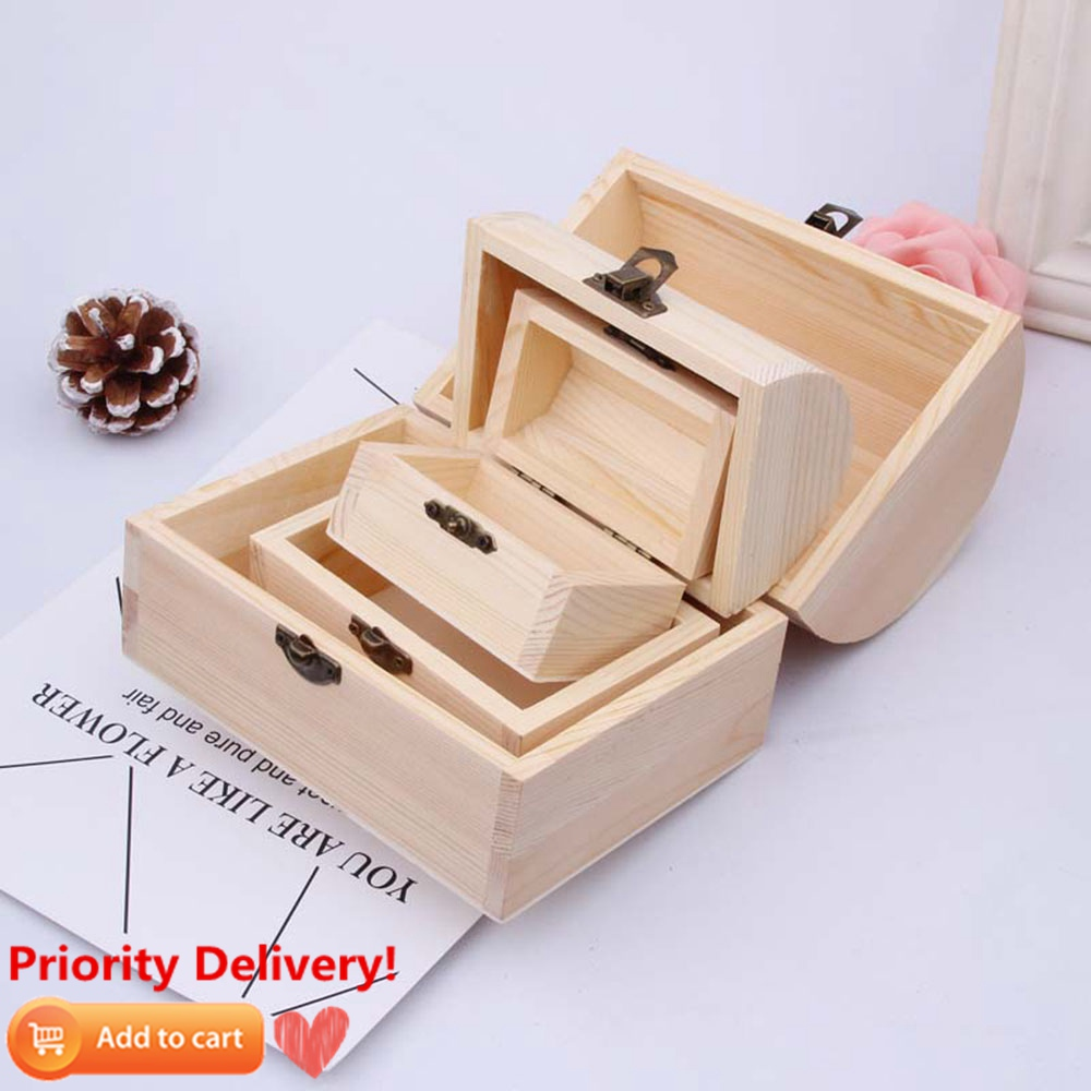 Solid Wood Arched Wooden Box Large And Medium DIY Clay Painted White Blank Handmade Wood Box