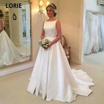 LORIE Muslin White Satin Wedding Dresses Beach Wedding Bridal Gow with Sweep Train Boat Neck Open Back Sleeveless Princess Dress туфли прогулочные gow