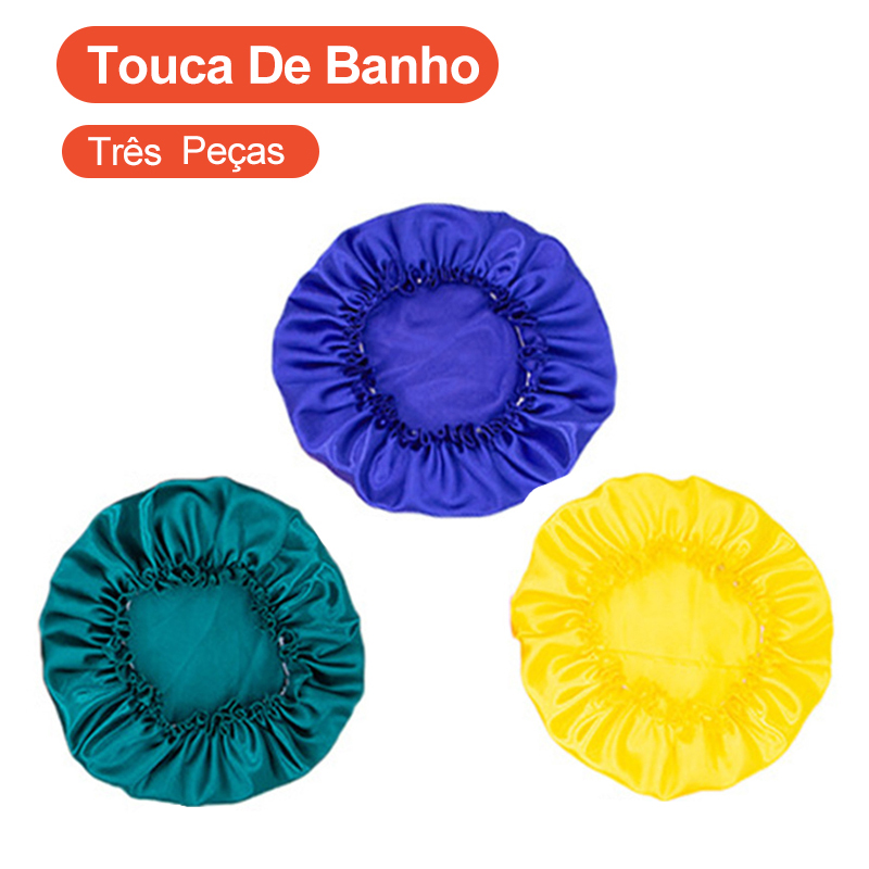 3 Single-Layer Satin Shower Cap Female Nightcap Home Cleaning Shower Cap Confinement Chemotherapy