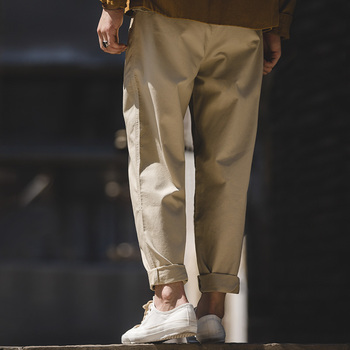 2020 New Men's Retro Khaki Loose Straight Pants Washed Solid Color Drop Trousers Male