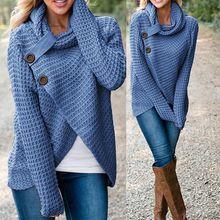Женский зимний свитер с длинным рукавом и воротником-шарфом, однотонный теплый вязаный свитер, женский свитер с воротником-хомутом, топы