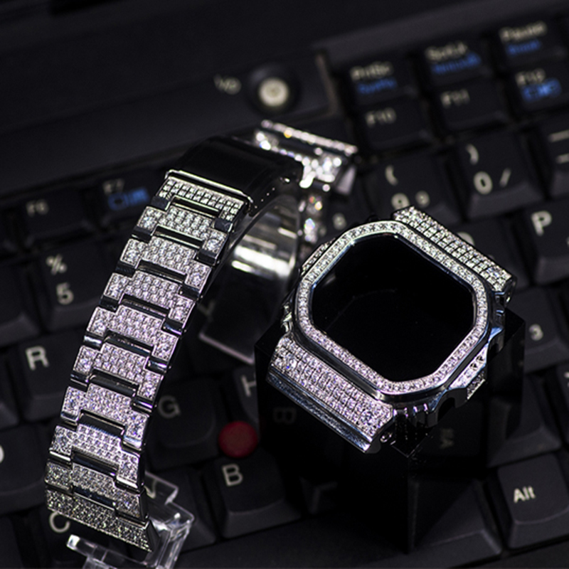 316L stainless steel diamond Watch Strap Bezel For Casio G-shock DW5600 GW-5600 <font><b>DW5000</b></font>/5035 Watch Case Band For Casio Watch image