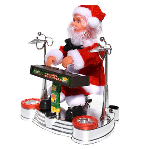 Santa Claus playing music drums and guitar Electric Santa Claus Piano Music Doll Christmas Jewelry Creative Gift Gift Decoration