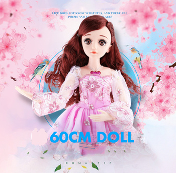 60cm BJD Doll with Makeup Naked Baby Girl 21 Joints 4D Real   Eyes Beautiful Hair Baby Dolls for Girls Fashion Doll Girls Toys цена 2017
