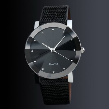 Diamond Pu Band Fashion Watch Casual Couple Men and Women Students Children Cheap Classic Black Dial