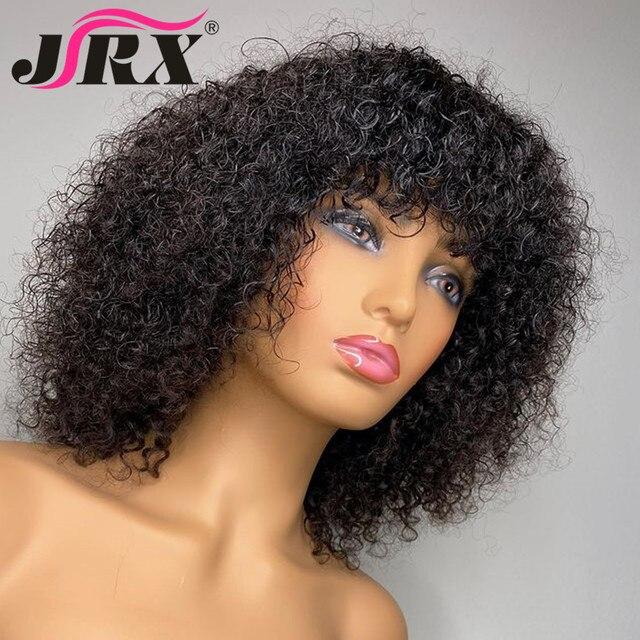 Jerry encaracolado perucas de cabelo humano com franja completa máquina feita perucas destaque mel loira colorido perucas para o cabelo remy peruano feminino 2