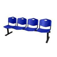 Banco à espera de quatro quadrados e estrutura do ferro na cor preta acima do assento e do encosto na cor azul do taphole do pvc Sofás p/ sala de estar     -