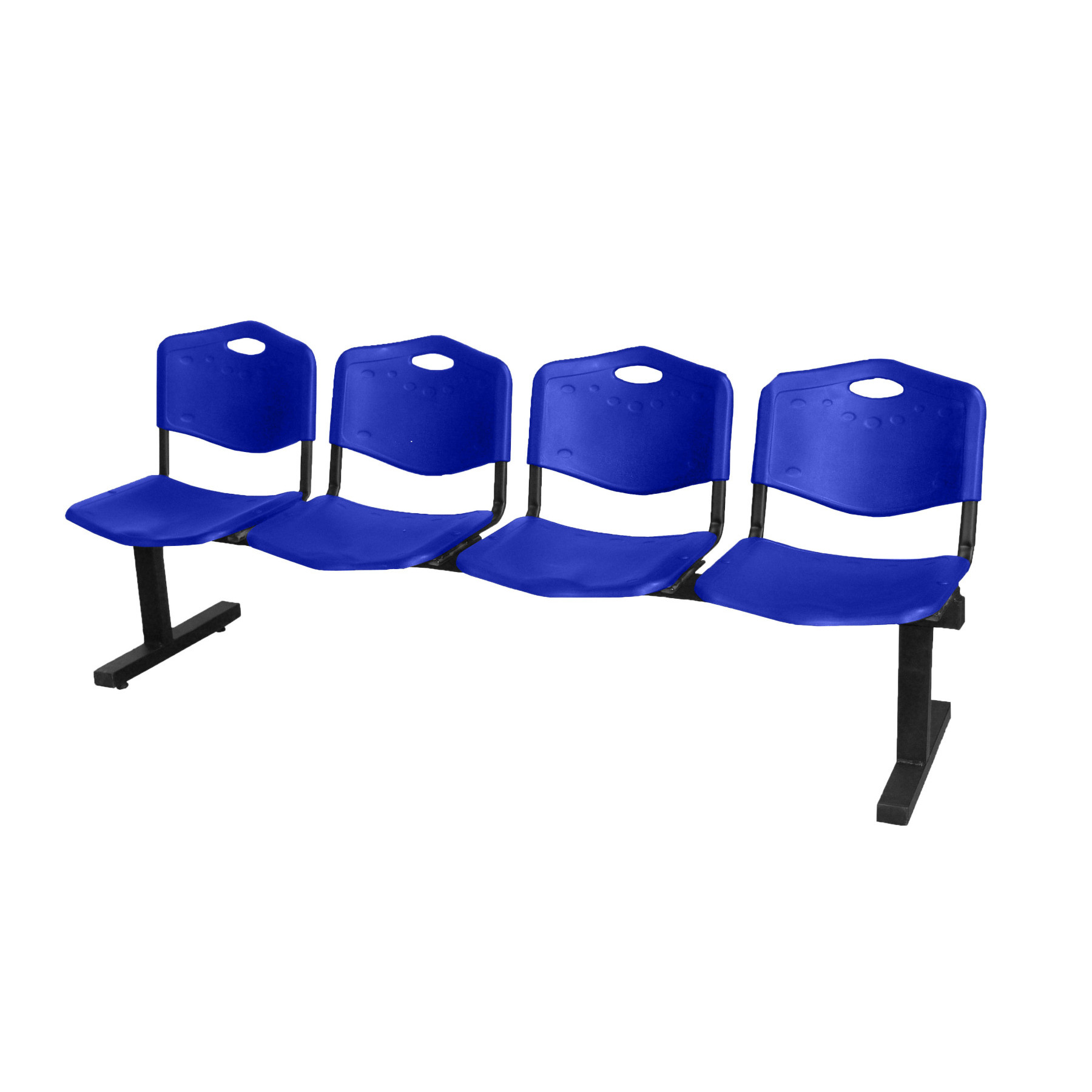 Bench Waiting From Four Squares And Iron's Structure In Black Color Up Seat And Backstop In PVC Color Blue Taphole