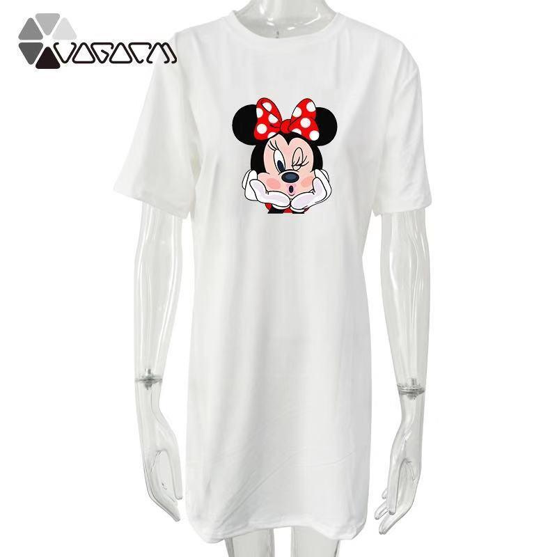 2019 Summer Women Dresses Minnie Mickey Mouse Cartoon Print Casual Loose White Mini Women Clothing Plus Size Femme in Dresses from Women 39 s Clothing