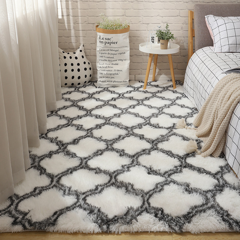 Fluffy Tie Dye Carpets For Bedroom Decor Modern Home Floor Mat Large Washable Nordica in the Living Room Soft White Shaggy Rug 26