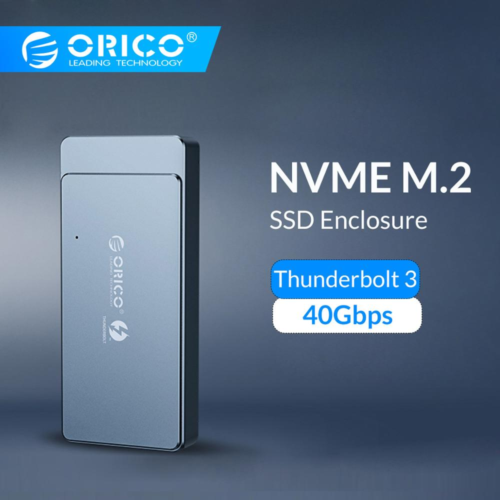 ORICO Thunderbolt 3 40Gbps M.2 NVME SSD Enclosure Support 2TB Aluminum With 40Gbps Thunderbolt 3 C To C Cable For Mac Windows