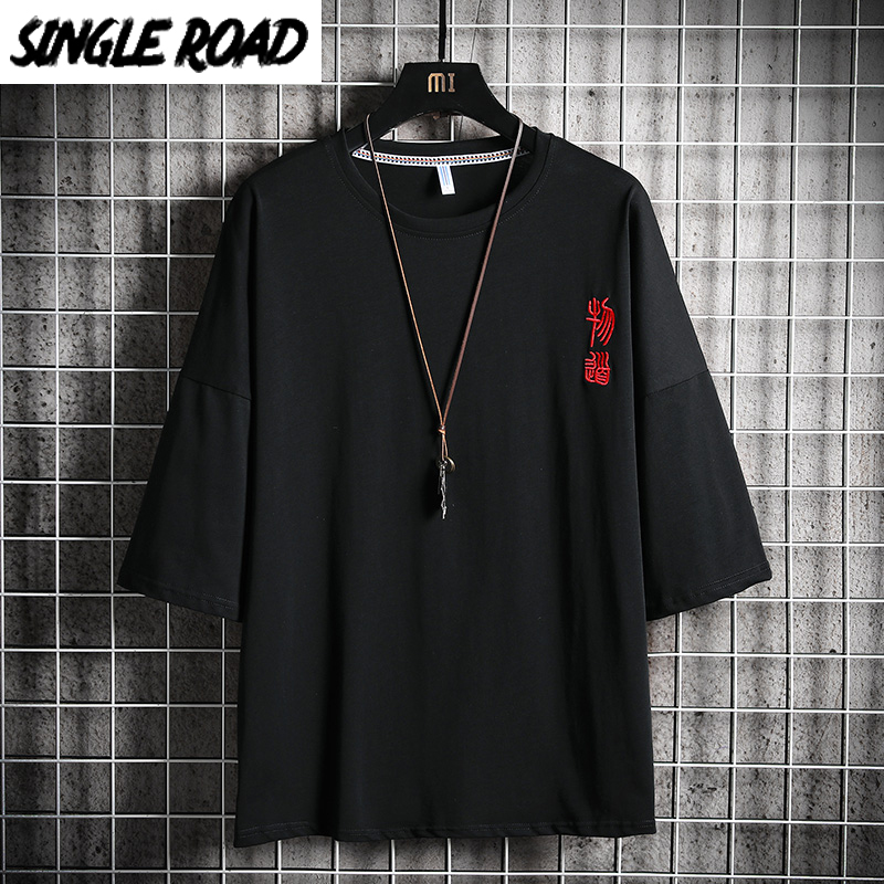 SingleRoad Man's Black T-shirt Men Embroidered Oversized Cotton Hip Hop Japanese Streetwear Harajuku Tshirt Male T Shirt Men