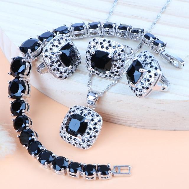 Black Cubic Zirconia Silver 925 Bridal Jewelry Sets Women Wedding Costume Necklace Sets Ring Earrings Pendant Bracelet Jewelry