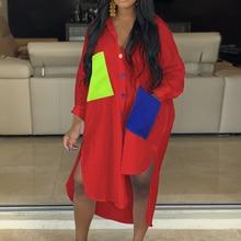 2019 Women Casual Shirt Dress Contrast Color Pocket  Autumn Spliced Side Split Dress Oversize Dyed Block Loose Long Sleeve Dress