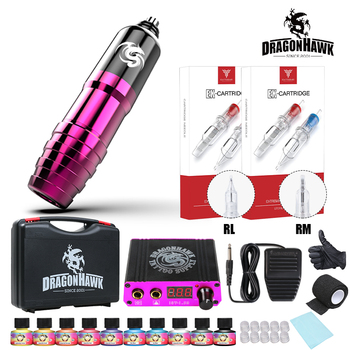 Compelte Tattoo Kit Motor Pen Machine Gun  Power Supply Cartridge Needles with Carrier Box dragonhawk tattoo kit motor pen machine gun color inks power supply needles