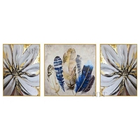 New Feathers Art Unframed 3 Panel Handmade Abstract Modern Oil Painting On Canvas Home Decor For Kitchen Wall Art Picture