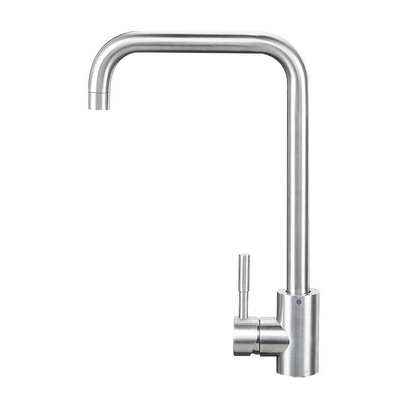 304 Stainless Steel Kitchen Mixing Faucet Cold Hot Bending Leading Rotating Kitchen Sink Qizi Leading Sanitary Ware Sink Faucet