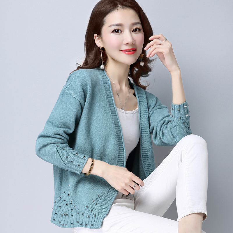 PEONFLY 2020 Women Knitted Cardigan Sweater Vintage V Neck Solid Color Knitwear Long Sleeve Jumper Tops Ladies Blue Purple