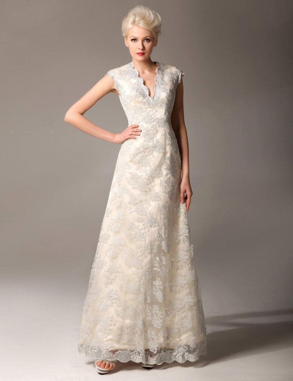 Elegant Lace Evening V Neck Sleeveless A Line Long Cap Sleeve Prom Bridal Gown 2018 Off The Shoulder Mother Of The Bride Dresses