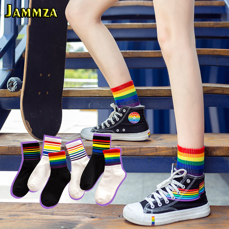 New Fashion Rainbow Stripes Socks For Women Fall Winter Streetwear Casual Sporty Harajuku Black White Socks College Style Meias