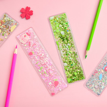 Kawaii oil flow sand bookmark ruler laser drawing template lace sewing sequins ruler for girl stationery office school supplies