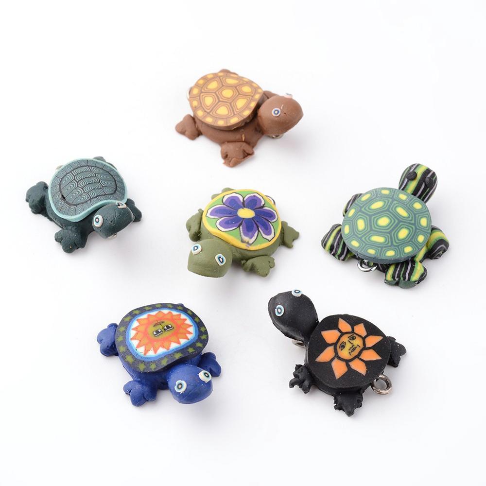 Colgantes de barro de polímero hechos a mano, 100 Uds., abalorios de tortuga de colores mezclados para fabricación de joyería DIY, hallazgos de 19x26mm, agujero 2mm