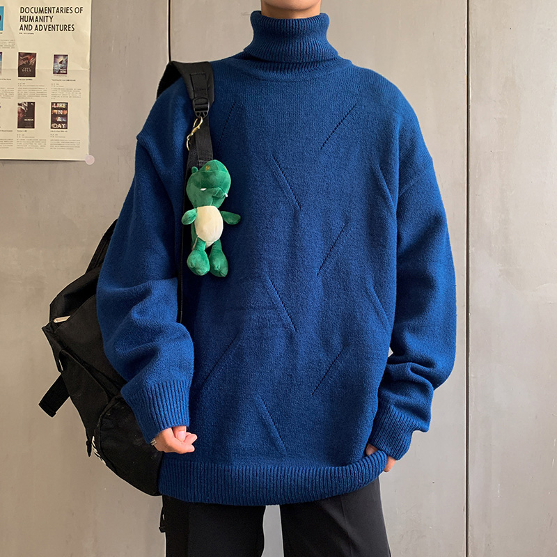 UYUK2019 Winter New Fashion Casual Temperament Versatile Matching Men's Solid Color Warm Turtleneck Sweater Clothes
