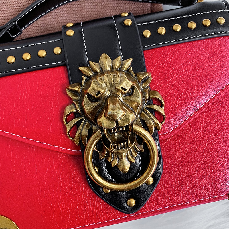 H1356f90de07f46938ef4a984f97c7014J - Female Fashion Handbags Popular Girls Crossbody Bags Totes Woman Metal Lion Head  Shoulder Purse Mini Square Messenger Bag