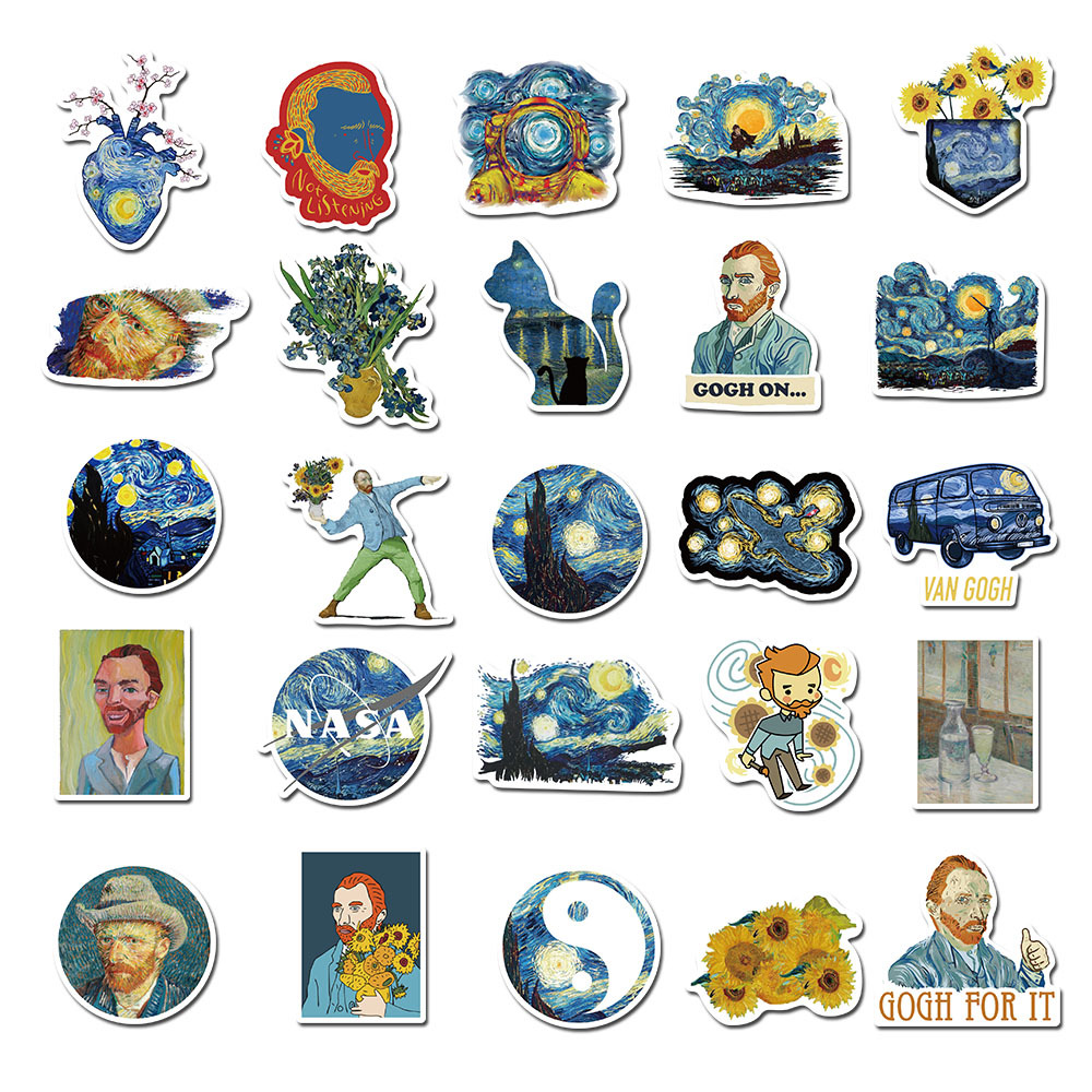 40 Pcs Cute Van Gogh Sunflower Oil Painting Sticker Decoracion Journal Stickers Scrapbooking Stationery Student Office Supplie