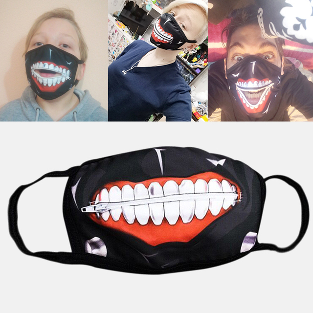 1PC Cotton Dustproof Mouth Face Mask Anime Zipper Cartoon Kpop Fashion Tokyo Ghoul Women Men Muffle Face Mouth Masks Cover