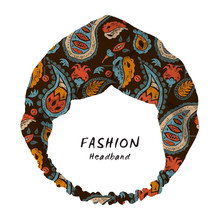 2020 Women Hair Bands Accessories Headband Fashion Brown Paisley Print Bohemian Wide Turban Twist Hairband Elastic Scrunchies(China)