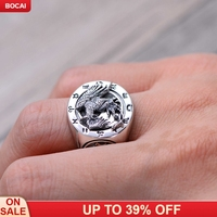 wholesale S925 pure silver ringr four god beast rosefinch domineering ring Bless the good luck ring Man's silver ring