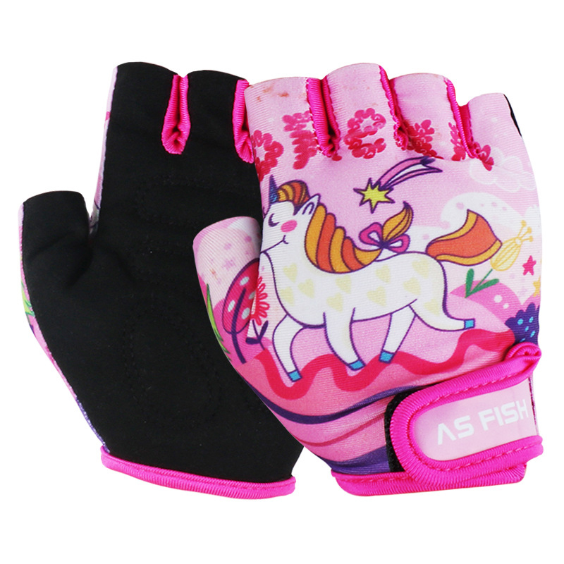 1 Pair Kids Children Half-finger Sports Gloves Breathable Anti-slide For Bicycle Roller Skate Scooters Mountain Bike