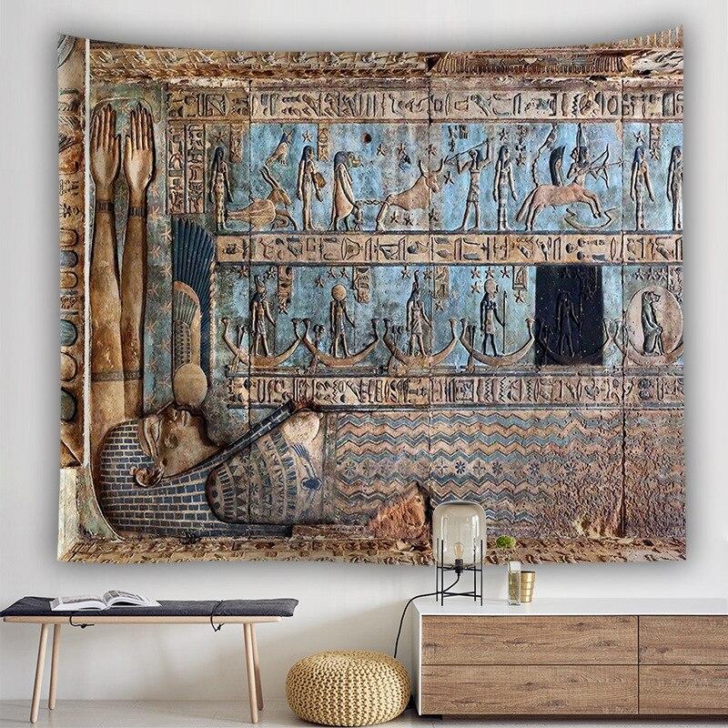 Egito tapeçaria parede pendurado pano poliéster tapisserie mural 3d drap mural folha de parede