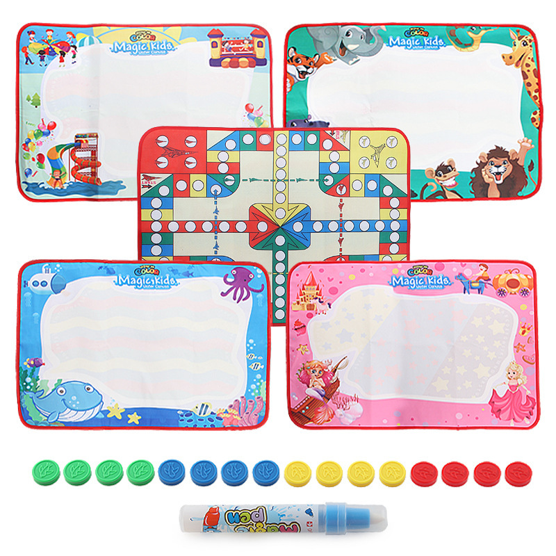 Kindergarten Educational Early Childhood Portable Toy Magic Canvas Double-Sided Graffiti Painted Doing Homework Aeroplane Chess