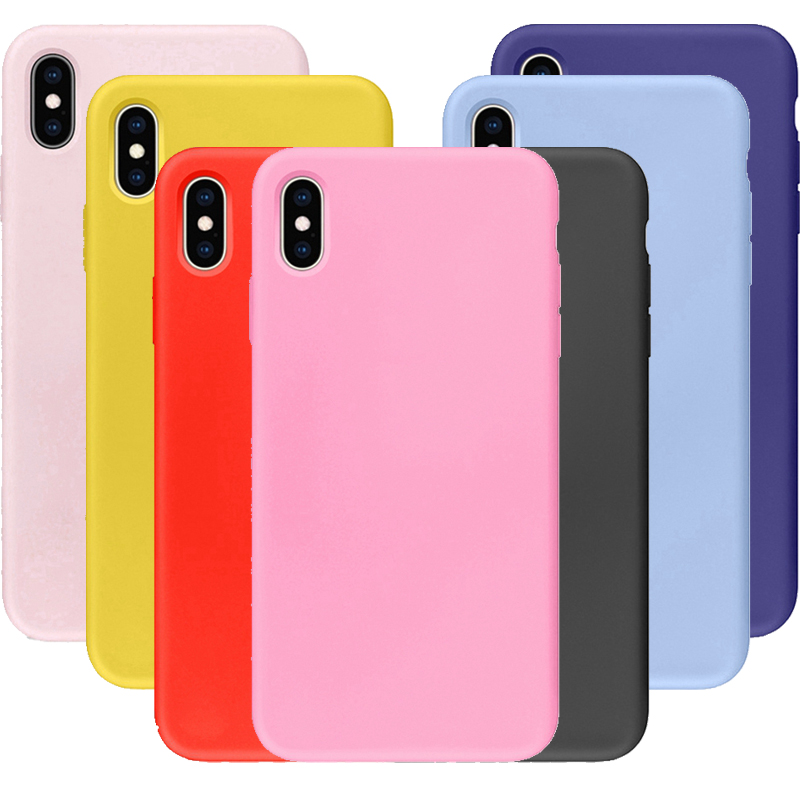Galleria fotografica Colorful Silicone Soft Case for iphone XS MAX X 10 XR 6 6S 7 8 Plus se 5 5s Thicken Full Coverage TPU Back Cover