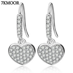 Drop Earrings Hanging Hearts Crystals From Swarovski For Women Party Hot Selling Silver Color Ear Jewelry Friends Gift KM4